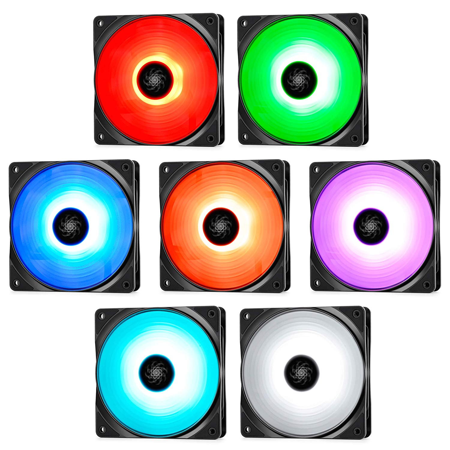 Deepcool RF120M 5 IN1, 5x120mm RGB PWM Fans with 2 Fan Hubs, Compatible  With ASUS Aura Sync, Controlled by Motherboard with 12V 4-pin RGB Header,  No