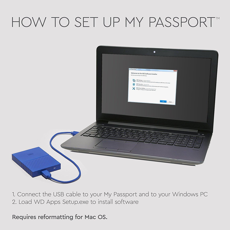 Western Digital 1TB Black My Passport Portable External Hard Drive - USB  3 0 - WDBYNN0010BBK-WESN