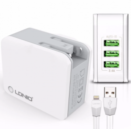 LDNIO A3303 3 USB 5V / 3.4A Quick Charge Universal USB Charger for iPhone (White)