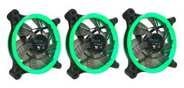 Apevia 312L-CGN 120mm Green LED Case Fan w/ Anti-Vibration Rubber Pads (3-pk)