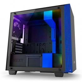 NZXT H400i Micro-ATX Computer Case with Digital Fan Control and RGB Lighting, Black/Blue CA-H400W-BL