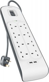 Belkin 8 Way 2m Surge Protection Strip with 2 x 2.4A Shared USB Charging White-BL-SRG-8OT-2USBBUK-WHT