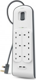 Belkin 6 Way 2m Surge Protection Strip with 2 x 2.4A Shared USB Charging White-BL-SRG-6OT-2USBUK-WHT