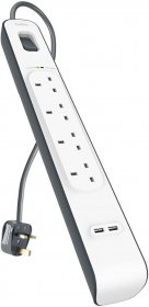 Belkin 4 Way 2m Surge Protection Strip with 2 x 2.4A Shared USB Charging-BL-SRG-4OT-2USBUK