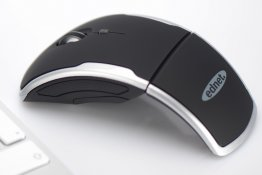Ednet CURVE Mouse, wireless, foldable and portable, 2,4 GHz, 800/1200/1600 DPI, Color: black/silver