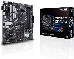 ASUS PRIME B550M-A AMD B550 (Ryzen AM4) micro ATX motherboard with dual M.2, PCIe 4.0, 1 Gb Ethernet, HDMI/D-Sub/DVI, SATA 6 Gbps, USB 3.2 Gen 2 Type-A, and Aura Sync RGB headers support
