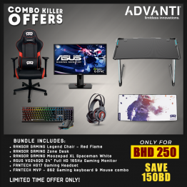 "Combo Killer Offer-R2: Ransor Legend Chair, Ransor Zone Gaming Desk, Asus 24"" Full HD 0.5Ms 165Hz Monitor, Fantech Gaming Headset, Fantech Mechanical RGB Gaming Keyboard & Mouse, Ransor Gaming MoozePad XL - COMBO-K-R2"