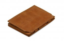 Garzini Magic Coin Wallet RFID Leather Essenziale Hold Up to 10 Cards - Camel Brown