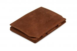 Garzini Magic Coin Wallet RFID Leather Essenziale Hold Up to 10 Cards - Java Brown