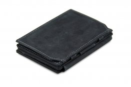 Garzini Magic Coins and ID Window Wallet RFID Leather Hold Up to 17 Card - Carbon Black