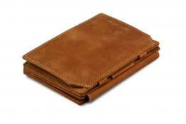 Garzini Magic Coins and ID Window Wallet RFID Leather Hold Up to 17 Card - Camel Brown