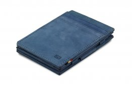 Garzini Magic Wallet RFID Leather Plus Magistrale Hold Up to 23 Card - Sapphire Blue