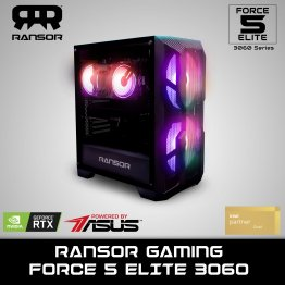 RANSOR Gaming FORCE 5 ELITE 3060 - Intel Core i5-10600K, NVIDIA GeForce RTX 3060 12GB, 16 GB RAM, 500 GB SSD, 1 TB HDD, 700W PSU - One Year Warranty