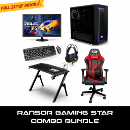 RANSOR Gaming Combo Star: AMD 3400G, GTX1650 4GB, 8GB DDR4 RAM, SSD 500GB, Winodws 10 Home, ASUS VP228HE, RANSOR Arena Disk, RANSOR Chair, Fantech Keyboard & Mouse, Fantech Headset - 1 Year Warranty - RNSR-PC-COMBO-STR
