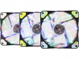 Apevia AF312L-S4C 120mm Multicolor LED Case Fan w/ Anti-Vibration Rubber Pads (3-pk)