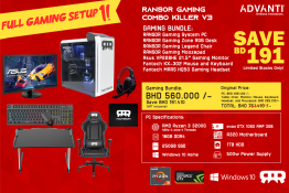 RANSOR Gaming Combo Killer V3: AMD 3200G, GTX1060 AMP 3GB, 16GB DDR4 RAM, SSD 250GB, WD 1TB HDD, Winodws 10 Home, ASUS VP228HE, Ransor Zone Disk, Ransor Legend Chair, Fantech Keyboard & Mouse, Fantech Headset - 1 Year Warranty