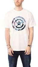 Marvel Comics Captain America Knock Out Mens Wht TS
