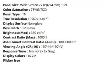 ASUS MG278Q, 27'' WQHD (2560 x 1440) Gaming monitor, 1ms, up to 144Hz, DP,  HDMI, DVI, USB3 0 , FreeSync, G-Sync compatible certified