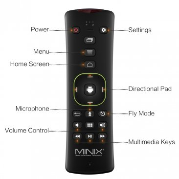 MINIX NEO A3, QWERTY Keyboard for Android and Six-Axis Gyroscope Remote with Voice Input