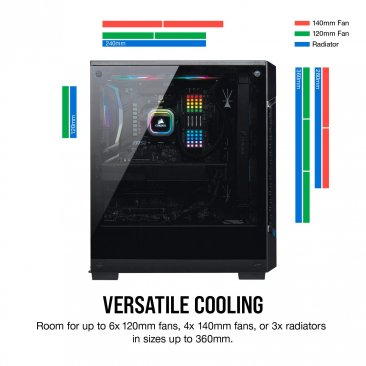 Corsair iCUE 220T RGB Airflow CC-9011173-WW Black Steel / Plastic / Tempered Glass ATX Mid Tower Computer Case - Black