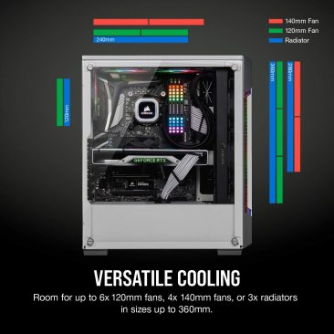 Corsair iCUE 220T RGB Airflow CC-9011174-WW White Steel / Plastic / Tempered Glass ATX Mid Tower Computer Case - White