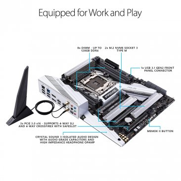Asus Prime X299-Deluxe II X299 Motherboard LGA2066 (Intel Core X-Series) ATX DDR4 M.2 U.2 Thunderbolt 3 USB 3.1 with Dual Gigabit LAN and 802.11AC WiFi