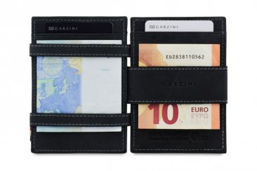 Garzini Magic Coin Wallet RFID Leather Essenziale Hold Up to 10 Cards - Carbon Black