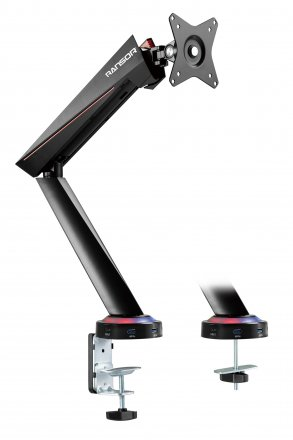 RANSOR Gaming Hecaton Pro Single Monitor RGB Arm - RNSR-ARM-1G0R1