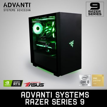 ADVANTI Systems RAZER Series 9: Intel I9-10850K, NVIDIA GeForce RTX 3090 24GB, 32 GB DDR4 RAM, 1 TB NVME, 1 TB SSD, 850W Power Supply - 1 Year Warranty