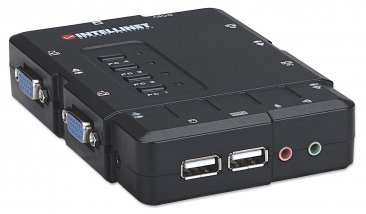 Mnahattan Intellient 4-Port Compact KVM Switch USB, With Cables and Audio Support, Color Black - 157032